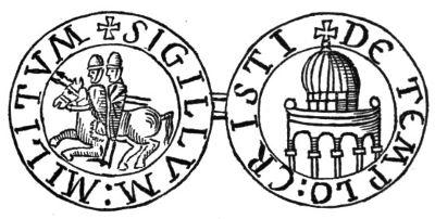 Ordine del Tempio: sigillo che rappresenta da una parte due templari sullo stesso cavallo e dall'altra il tempio di Salomone.