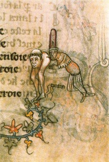 Scena che allude a un rapporto omosessuale fra Templari. Quest'accusa fu mossa all'Ordine in concomitanza con l'accusa di eresia. Si voleva dannare in toto i cavalieri.