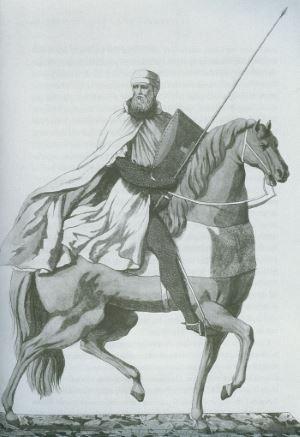 Templare in tenuta militare a cavallo.