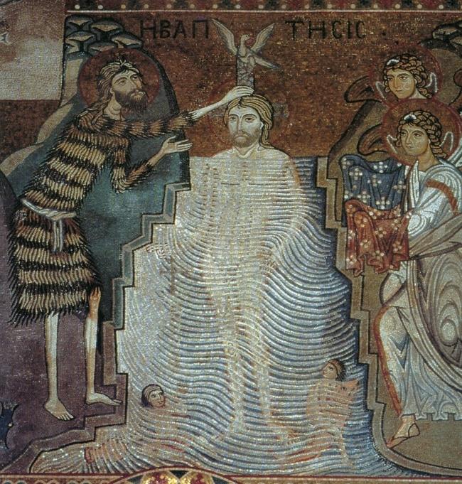 Giovanni Battista battezza Gesù. Mosaico medievale. Cappella Palatina, Palermo.