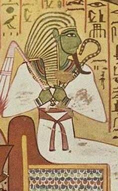 """Raffigurazione di Osiride, qui """"Il grande Verde"""", dio della vegetazione e della fertilità."""