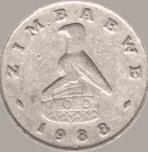 moneta di Zimbabwe con falco di Grande Zimbabwe