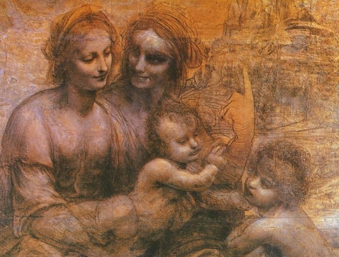 Maria con Sant'Anna, il Bambino e Giovanni Battista. Cartone di Leonardo da Vinci, ca. 1500.