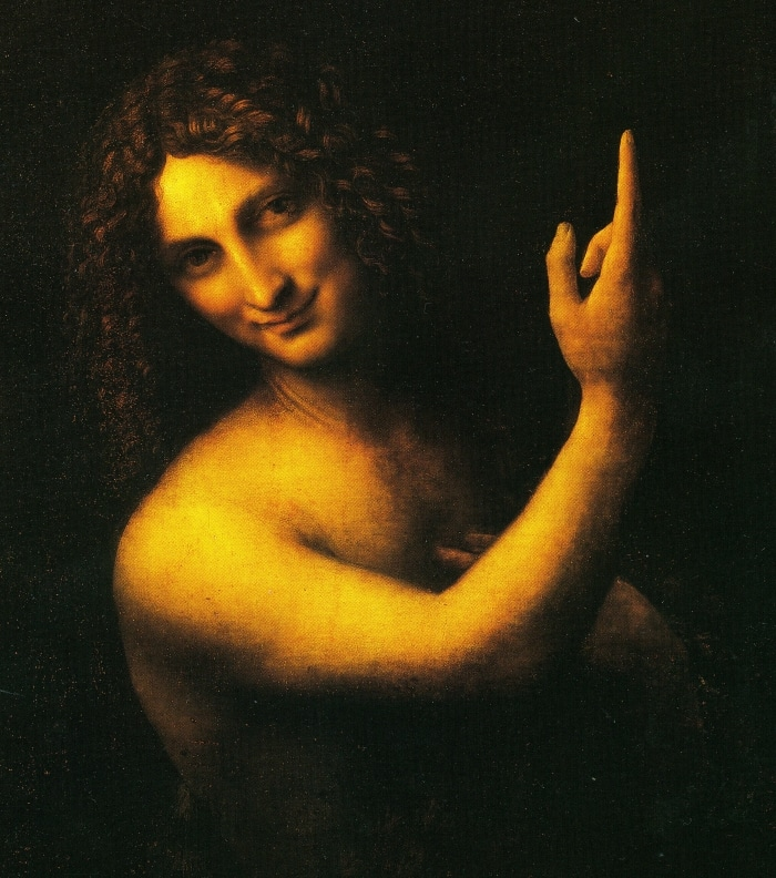 Giovanni Battista, olio su tavola. Leonardo da Vinci, 1510- 1515. Louvre.