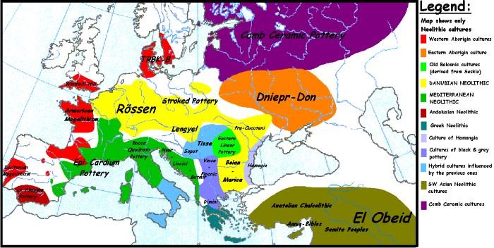 Carta dell'Europa nel Neolitico con le diverse aree culturali. Sono visibili alcuni centri della cultura della Vecchia Europa come Butmir, Vinca, Hvar, Cucuteni, Hamangia, Lengyel.