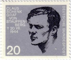 Francobollo in memoria dell'attentato del 20 luglio 1944 che ritrae Claus Schenk conte di Stauffenberg