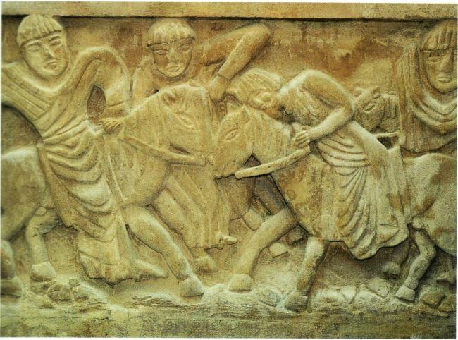 Stele che raffigura il martirio di San Dagoberto. Cripta della chiesa di San Dagoberto, Stenay, Francia settentrionale.