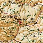 """Tartaria/Turda in Romania nella valle del Mures in provincia di Alba. """"Alba in Romania"""" von TUBS - Eigenes WerkDiese Vektorgrafik wurde mit dem Adobe Illustrator erstellt.Diese Datei wurde mit Commonist hochgeladen ..Diese Vektorgrafik enthält Elemente die von folgender Datei entnommen oder adaptiert wurden: Romania location map.svg (von NordNordWest).. Lizenziert unter Creative Commons Attribution-Share Alike 3.0 über Wikimedia Commons - http://commons.wikimedia.org/wiki/File:Alba_in_Romania.svg#mediaviewer/Datei:Alba_in_Romania.svg"""