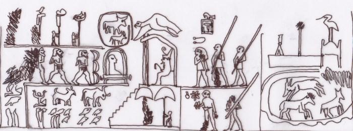 Raffigurazione della testa di mazza di Narmer. È ben visibile il re assiso sotto il padiglione e davanti a lui la lettiga con una sagoma avvolta in un mantello. Disegno di Sabina Marineo.