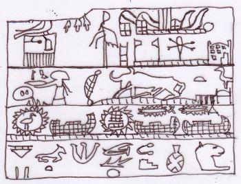 Tavoletta di Hor-Aha. In alto a destra è visibile una raffigurazione del tempio di Neith. La tavoletta ne illustra infatti la costruzione. Disegno di Sabina Marineo.