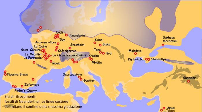 Diffusione dell'uomo di Neanderthal in Europa.
