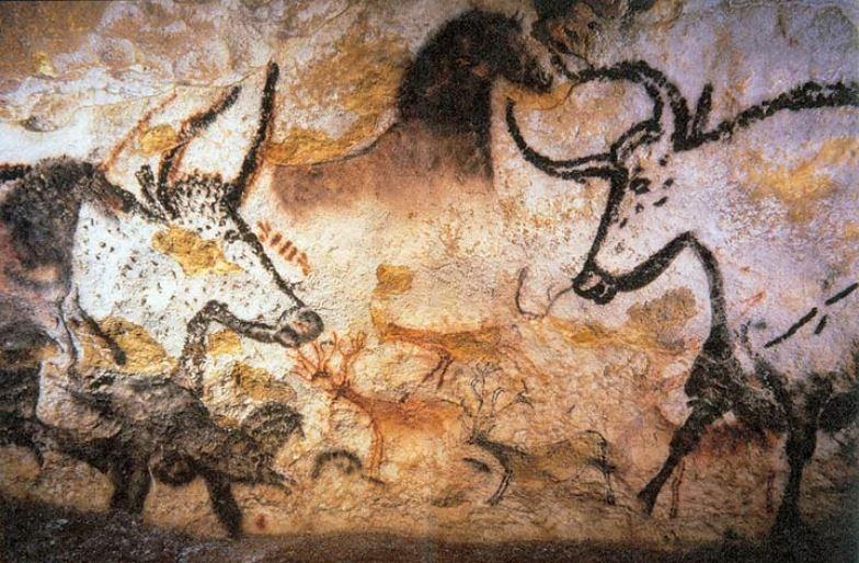 Grotta di Lascaux, uri, cavallo e cervi. Foto: Dominio pubblico.