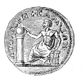 Moneta antica che ritrae Pitagora.