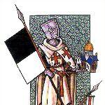 Templare con il Bauceant, tipico gonfalone nero e bianco e il tempio di Salomone.