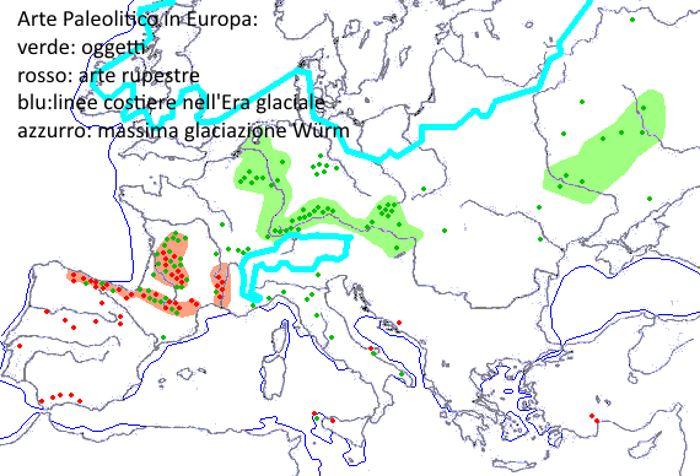 Arte del Paleolitico in Europa. Distribuzione dell'oggettistica e delle pitture rupestri.