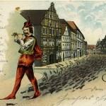 Il pifferaio di Hameln raffigurato su una cartolina storica.