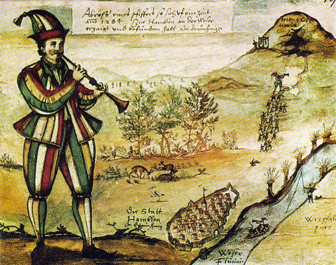Il pifferaio di Hameln, illustrazione dal diario di viaggio di von Moersperg, 1592. Si pensa che l'originale di questa immagine sia stata riportato sulla finestra della chiesa di Hameln.