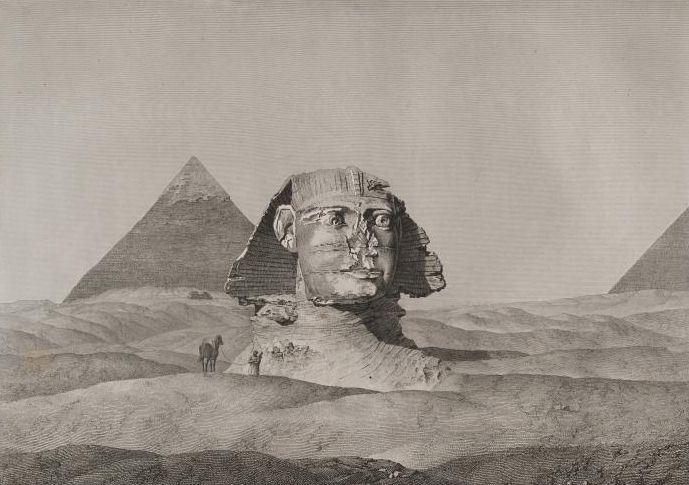 Il plateau di Giza nelle sabbie. Immagine dell'Ottocento. Sfinge e piramide di Chefren.