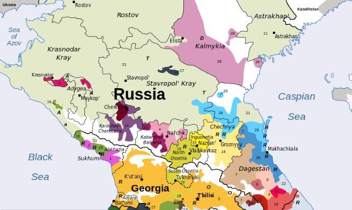 Mappa con le popolazioni della regione nord del Caucaso. Nel mezzo, in colore verde chiaro, c'è l'Ossezia, culla delle saghe dei Narti.