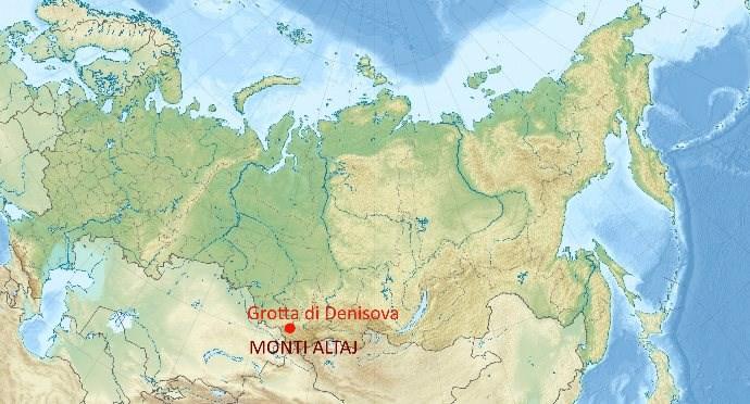 Posizione geografica della grotta di Denisova, in Siberia, monti Altaj dove sono stati scoperti resti fossili dell'uomo di Denisova. Licenza CC-BY-SA-3.0