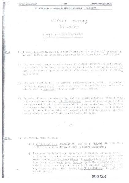 Il Piano di rinascita democratica della loggia P2. Dominio pubblico.