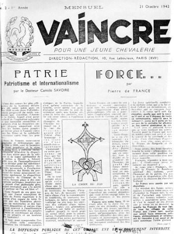 Il giornale Vaincre diretto da Pierre Plantard, il fondatore del Priorato di Sion.