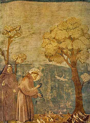 Giotto_-_Legend_of_St_Francis_-_-15-_-_Sermon_to_the_Birds-free