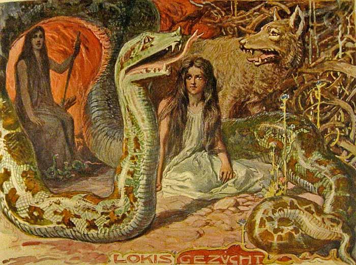 Hel umgeben von ihren Geschwisternder Midgardschlange und FenrirDie Figur im Hintergrund ist ihre Mutter AngrbodaEmil Doepler1905Gemeinfrei