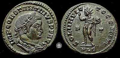 Moneta dell'imperatore Costantino con la raffigurazione del Sol invictus, inizio IV secolo. Panairjdde CC-BY-SA-3.