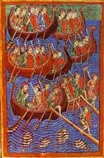 La spada high tech Ulfberht. Lo status symbol dei Vichinghi. Rappresentazione di navi vichinghe. IX-X secolo. Dominio pubblico.