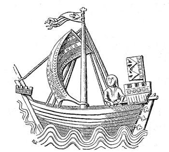 mittelalterliche Darstellung einer Kogge auf einem Siegel Stralsunds-free