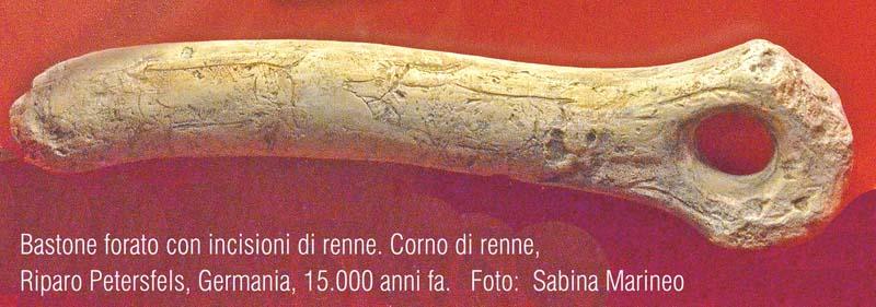 bastone forato con incisioni di renne, Riparo Petersfels, Germania. 15.000 anni fa. foto - sabina marineo