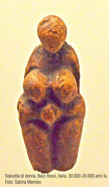 statuetta di donna, Venere di Balzi Rossi, Italia. 30.000 - 20.000 anni fa. foto - sabina marineo