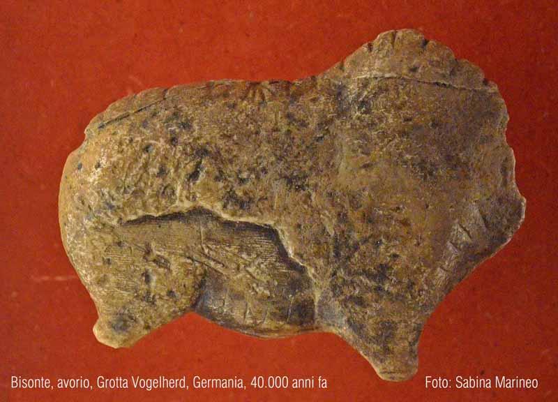 bisonte, Grotta Vogelherd, Germania. 40.000 anni fa. foto - sabina marineo