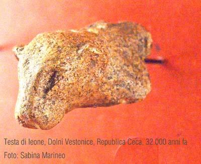 testina di leone Dolni Vestonice, Repubblica Ceca. 32.000 anni fa. foto - sabina marineo