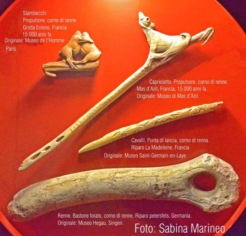 dettagli di propulsore con stambecchi ( Grotta Enlene ), caprioletto ( Mas d'Azil ), punta di lancia ( riparo La Madeleine ), bastone forato con incisioni di renne ( riparo Petersfels ). foto - sabina marineo