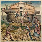 Illustrazione dal manoscritto della Cronaca di Schedel, foglio r11. Costruzione dell'arca di Noè. Dominio pubblico