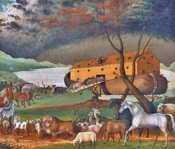 La vera storia dell'arca di Noè. Pittura a olio di Edward Hicks 1846, Philadelphia Museum of Art. Dominio pubblico