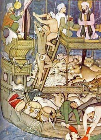 Miniatura dell'epoca dei Mogul, XVI secolo. Costruzione dell'arca di Noè. Dominio pubblico