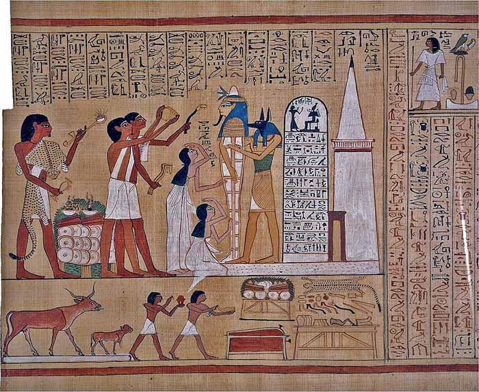 Rito dell'apertura della bocca eseguito sulla mummia di Hunefer. Dal Libro dei Morti di Hunefer. Foto - dominio pubblico