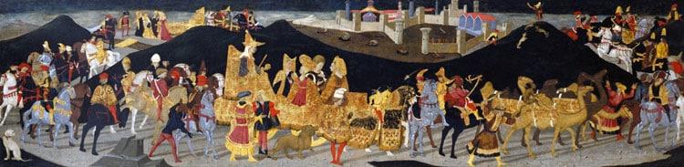 Viaggio della regina di Saba a Gerusalemme da re Salomone. Apollonio di Giovanni di Tommaso, 1460 - 1465. Dominio pubblico