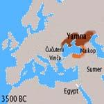 L'Urheimat degli Indoeuropei e l'origine delle lingue indoeuropee nelle steppe eurasiatiche - mappa Dbachmann CC BY-SA 3.0
