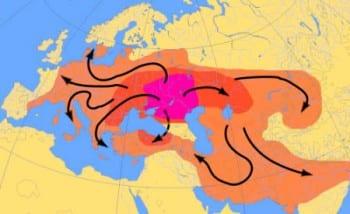 Urheimat degli Indoeuropei. Espansione della lingua indoeuropea dal 4000 al 1000 a.C.. - mappa Dbachmann CC BY-SA 3.0