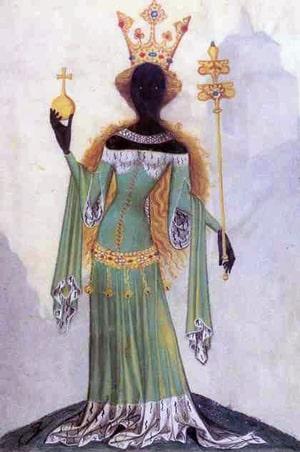 La simbolica segreta della regina nera. Dal manoscritto Bellifortis di Conrad Kyeser, 1405.
