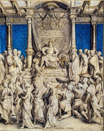 Re Salomone riceve la regina di Saba. Hans Holbein il giovane. I lineamenti di Salomone sono quelli di re Enrico VIII d'Inghilterra.