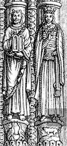 La regina di Saba sull'antico portale della cattedrale St. Bénigne di Dijon più tardi distrutto. La simbolica segreta della regina dal piede d'oca. Secondo un disegno antico di Dom Plancher.