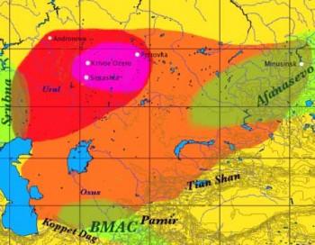 Mappa delle culture indoeuropee delle steppe del Kazakistan. Al centro, in viola, la cultura Sintasha - Dbachmann CC BY-SA 3.0