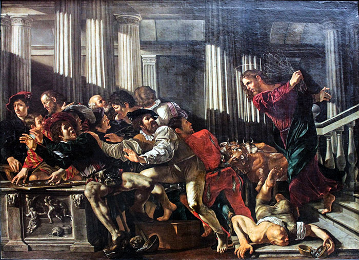 Gesù scaccia i mercanti dal tempio, Caravaggio 1610