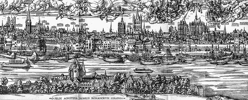 Veduta di Colonia nel 1531. Anton Woensam. Città natale del mago e alchimista Agrippa di Nettesheim.
