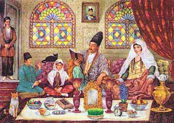 Famiglia persiana celebra la festa di Nouruz. Sul tavolo sono le uova colorate.